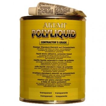 Жидкий полиэфирный клей-шпатлевка POLY-LIQUID AKEMI (Поли-Ликвид Акеми) для камня, прозрачный с медовым оттенком 1,00 л.