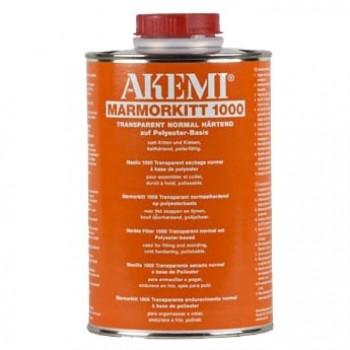 Жидкий полиэфирный клей-шпатлевка 1000 AKEMI (Акеми) для камня, прозрачный с медовым оттенком 0,90 л.